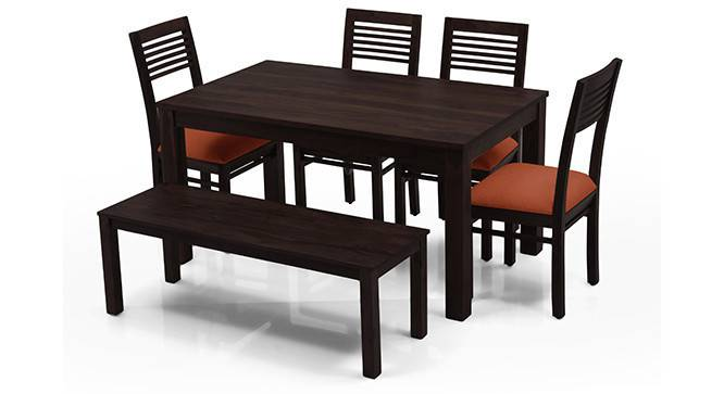 Arabia - Zella 6 Seater Dining Table Set (With Bench) (Mahogany Finish, Burnt Orange) by Urban Ladder