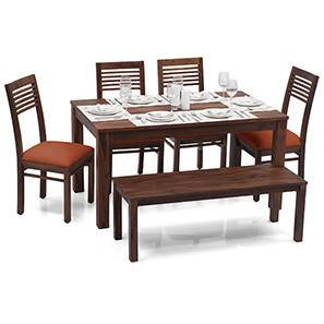 Arabia - Zella 6 Seater Dining Table Set (With Bench) (Teak Finish, Burnt Orange) by Urban Ladder - Half View Design 1 - 24101