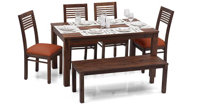 Arabia - Zella 6 Seater Dining Table Set (With Bench) (Teak Finish, Burnt Orange) by Urban Ladder