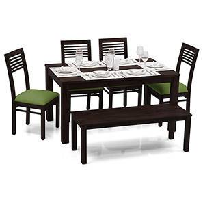 Arabia - Zella 6 Seater Dining Table Set (With Bench) (Mahogany Finish, Avocado Green) by Urban Ladder