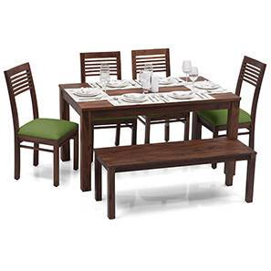 Arabia - Zella 6 Seater Dining Table Set (With Bench) (Teak Finish, Avocado Green) by Urban Ladder - - 24118