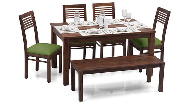 Arabia - Zella 6 Seater Dining Table Set (With Bench) (Teak Finish, Avocado Green) by Urban Ladder