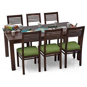 Arabia XL - Zella 6 Seater Dining Set (Mahogany Finish, Avocado Green) by Urban Ladder