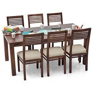 Arabia XL - Zella 6 Seater Dining Set (Teak Finish, Wheat Brown) by Urban Ladder