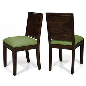 Oribi Dining Chairs - Set of 2 (Mahogany Finish, Avocado Green) by Urban Ladder