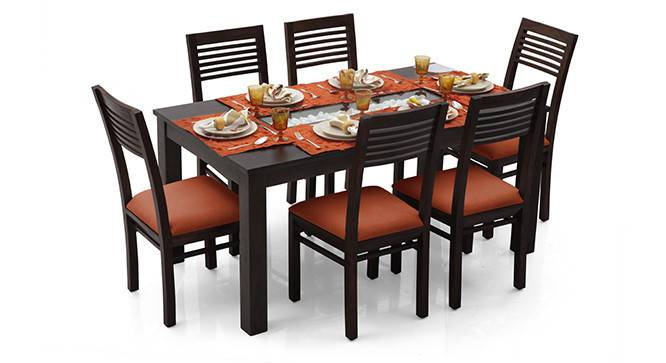 Brighton Large - Zella 6 Seater Dining Table Set (Mahogany Finish, Burnt Orange) by Urban Ladder