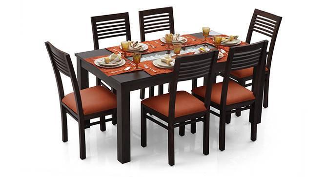 Brighton Large - Zella 6 Seater Dining Table Set (Mahogany Finish, Burnt Orange) by Urban Ladder