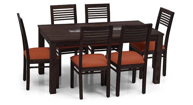 Brighton Large - Zella 6 Seater Dining Table Set (Mahogany Finish, Burnt Orange) by Urban Ladder - - 24577