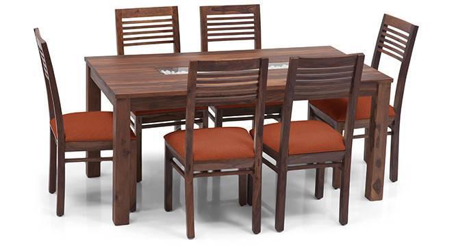 Brighton Large - Zella 6 Seater Dining Table Set (Teak Finish, Burnt Orange) by Urban Ladder