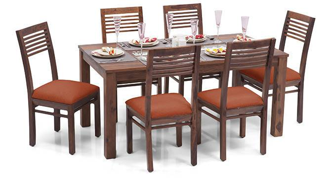 Brighton Large - Zella 6 Seater Dining Table Set (Teak Finish, Burnt Orange) by Urban Ladder