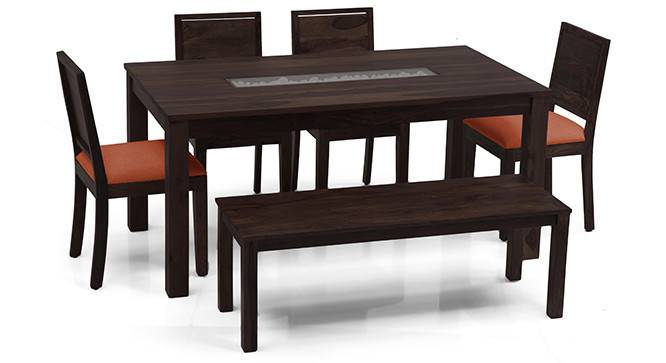 Brighton Large - Oribi 6 Seater Dining Table Set (With Bench) (Mahogany Finish, Burnt Orange) by Urban Ladder - - 24597