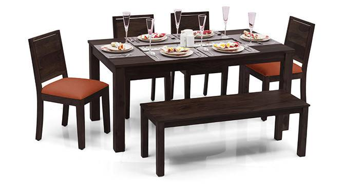 Brighton Large - Oribi 6 Seater Dining Table Set (With Bench) (Mahogany Finish, Burnt Orange) by Urban Ladder - - 24598