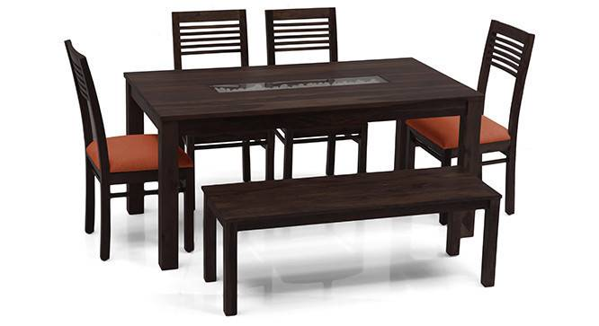 Brighton Large - Zella 6 Seater Dining Table Set (With Bench) (Mahogany Finish, Burnt Orange) by Urban Ladder - - 24623