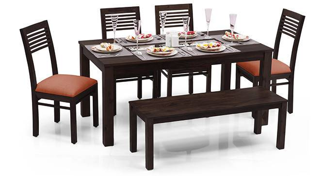 Brighton Large - Zella 6 Seater Dining Table Set (With Bench) (Mahogany Finish, Burnt Orange) by Urban Ladder