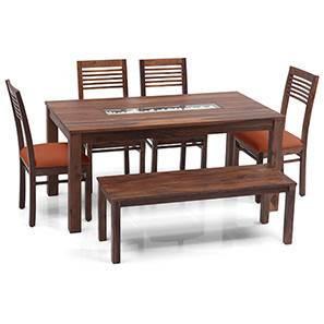 Brighton Large - Zella 6 Seater Dining Table Set (With Bench) (Teak Finish, Burnt Orange) by Urban Ladder