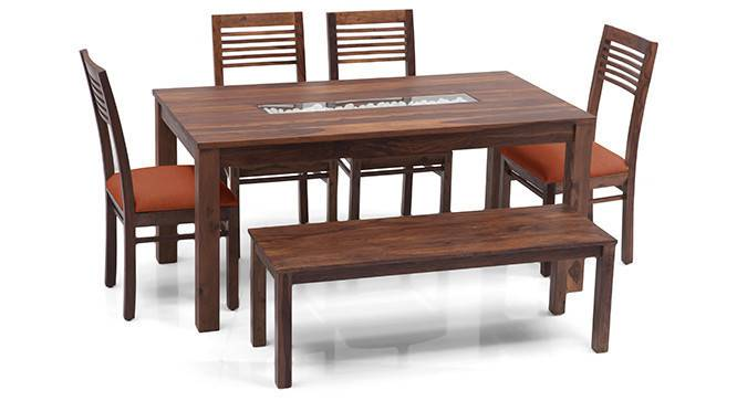 Brighton Large - Zella 6 Seater Dining Table Set (With Bench) (Teak Finish, Burnt Orange) by Urban Ladder