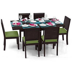Danton 3-to-6 - Oribi 6 Seater Folding Dining Table Set (Mahogany Finish, Avocado Green) by Urban Ladder