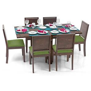 Danton 3-to-6 - Oribi 6 Seater Folding Dining Table Set (Teak Finish, Avocado Green) by Urban Ladder