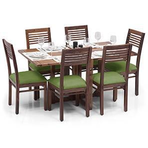 Danton 3-to-6 - Zella 6 Seater Folding Dining Table Set (Teak Finish, Avocado Green) by Urban Ladder