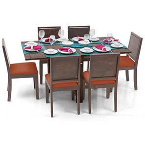 Danton 3-to-6 - Oribi 6 Seater Folding Dining Table Set (Teak Finish, Burnt Orange) by Urban Ladder - - 24926