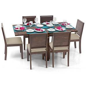 Danton 3-to-6 - Oribi 6 Seater Folding Dining Table Set (Teak Finish, Wheat Brown) by Urban Ladder - - 24981