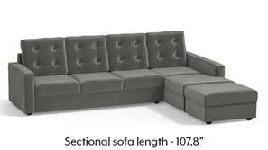 Apollo Sectional Tufted Sofa (Ash Grey Velvet)