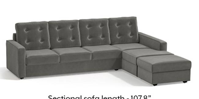 Apollo Sofa Set (Fabric Sofa Material, Regular Sofa Size, Soft Cushion Type, Sectional Sofa Type, Sectional Master Sofa Component, Ash Grey Velvet, Tufted Back Type, Regular Back Height)