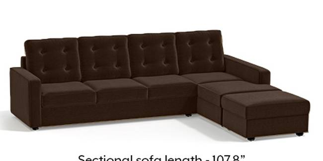Apollo Sofa Set (Dark Earth, Fabric Sofa Material, Regular Sofa Size, Soft Cushion Type, Sectional Sofa Type, Sectional Master Sofa Component, Tufted Back Type, Regular Back Height)