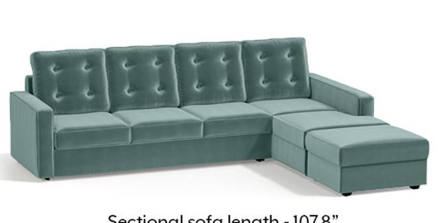 Apollo Sofa Set (Fabric Sofa Material, Regular Sofa Size, Soft Cushion Type, Sectional Sofa Type, Sectional Master Sofa Component, Dusty Turquoise Velvet, Tufted Back Type, Regular Back Height)