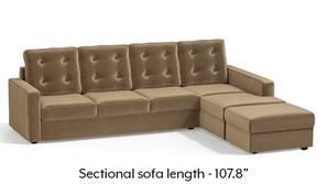 Apollo Sectional Tufted Sofa (Fawn Velvet)