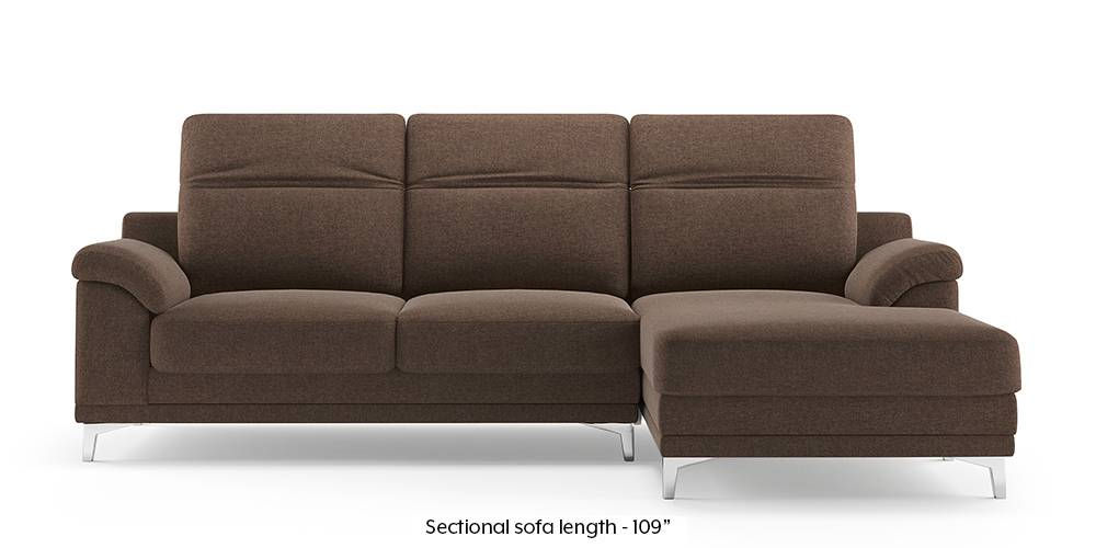 Hally Adjustable Sectional Sofa (Brown) (Brown, None Custom Set - Sofas, Left Aligned 3 seater + Chaise Standard Set - Sofas, Fabric Sofa Material, Regular Sofa Size, Sectional Sofa Type) by Urban Ladder