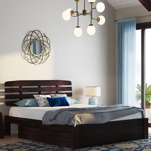 Sampson Storage Bed (Mahogany Finish, King Bed Size, Drawer Storage Type) by Urban Ladder