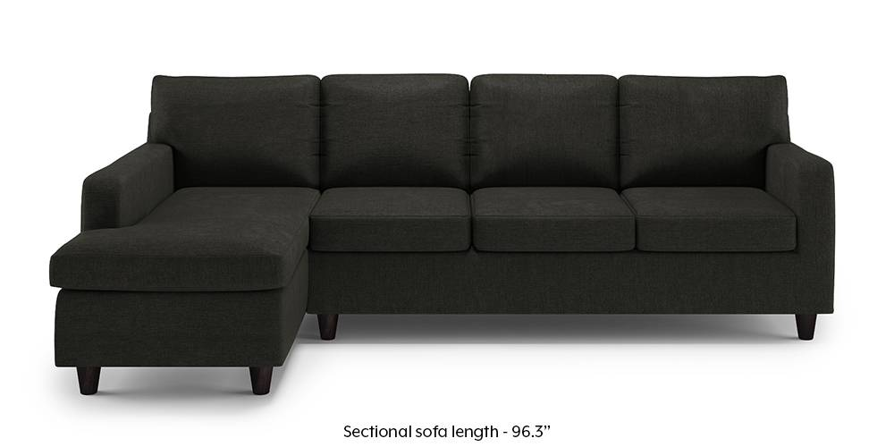 Walton Compact Sectional Sofa (Charcoal Grey) (None Custom Set - Sofas, Left Aligned 3 seater + Chaise Standard Set - Sofas, Charcoal Grey, Fabric Sofa Material, Regular Sofa Size, Sectional Sofa Type) by Urban Ladder