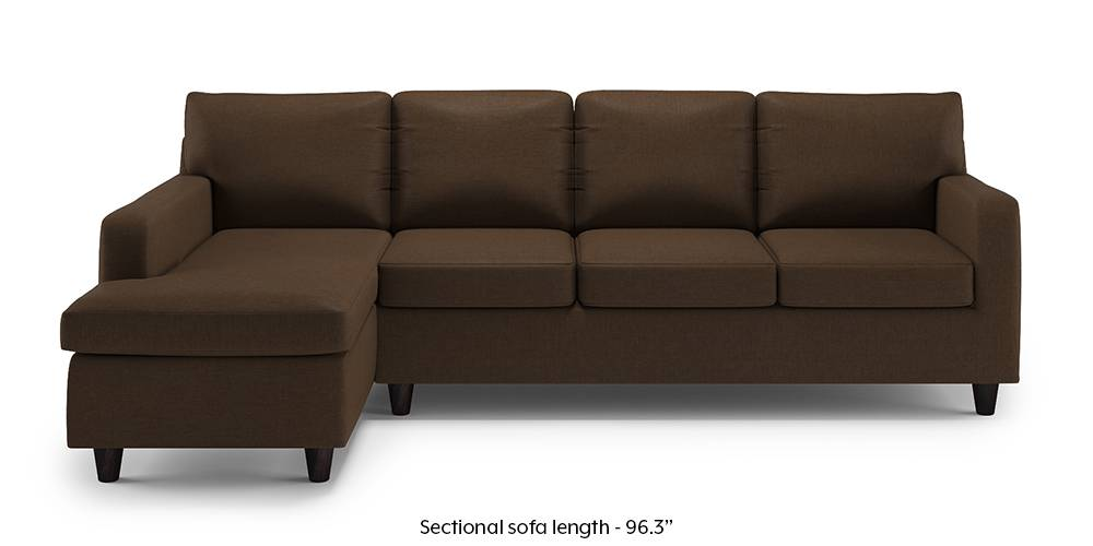 Walton Compact Sectional Sofa (Desert Brown) (None Custom Set - Sofas, Right Aligned 3 seater + Chaise Standard Set - Sofas, Fabric Sofa Material, Regular Sofa Size, Sectional Sofa Type, Desert Brown) by Urban Ladder