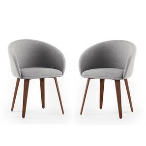 Meryl Lounge Chair - Set of 2 (Light Grey) by Urban Ladder