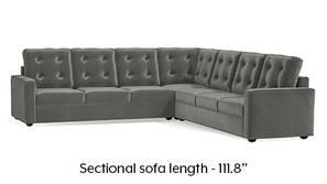 Apollo Corner Tufted Sofa (Ash Grey Velvet)