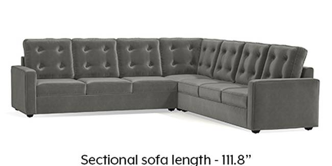 Apollo Sofa Set (Fabric Sofa Material, Regular Sofa Size, Soft Cushion Type, Corner Sofa Type, Corner Master Sofa Component, Ash Grey Velvet, Tufted Back Type, Regular Back Height)