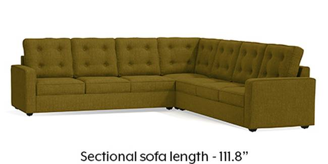 Apollo Sofa Set (Olive Green, Fabric Sofa Material, Regular Sofa Size, Soft Cushion Type, Corner Sofa Type, Corner Master Sofa Component, Tufted Back Type, Regular Back Height)