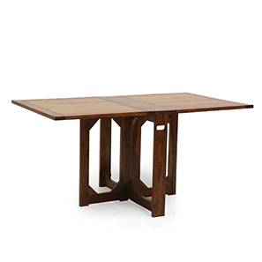 Danton 3 to 6 Folding Dining Table (Teak Finish) by Urban Ladder - Front View Design 1 - 258023