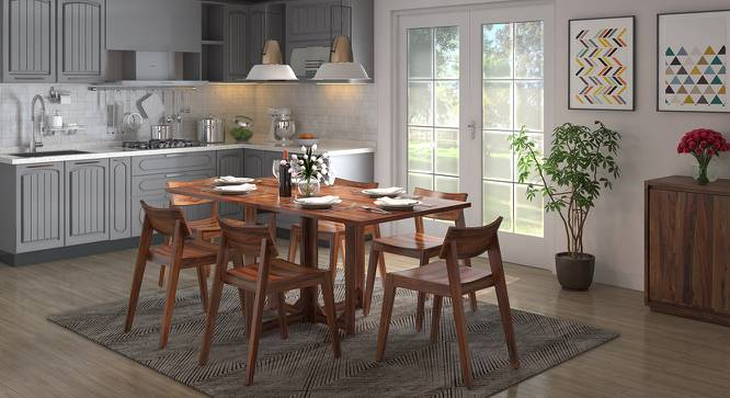 Danton 3 to 6 Folding Dining Table (Teak Finish) by Urban Ladder - Design 1 Full View - 258024