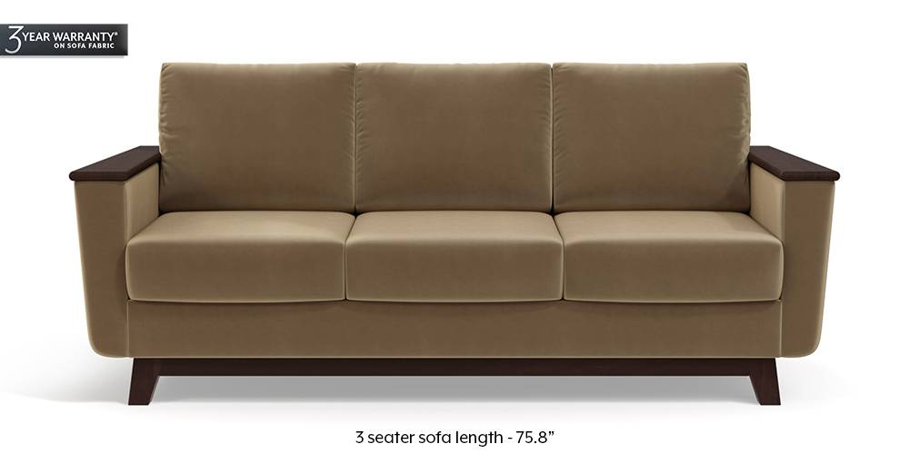 Corby Sofa (Tuscan Tan Velvet) by Urban Ladder