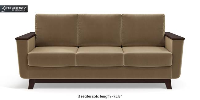 Corby Sofa (Fawn Velvet) (3-seater Custom Set - Sofas, None Standard Set - Sofas, Fabric Sofa Material, Regular Sofa Size, Regular Sofa Type, Fawn Velvet)