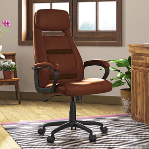Angela Study Chair (Tan Leatherette) by Urban Ladder