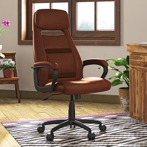 Angela Study Chair (Tan Leatherette) by Urban Ladder