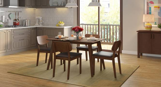 Lawson 4 Seater Dining Table Set (Walnut Finish, Dark Brown) by Urban Ladder
