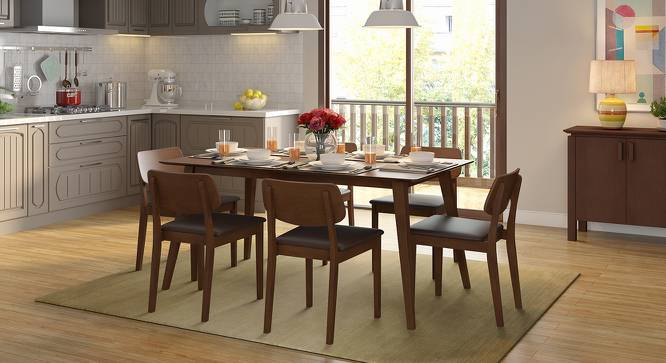 Lawson 6 Seater Dining Table Set (Walnut Finish, Dark Brown) by Urban Ladder