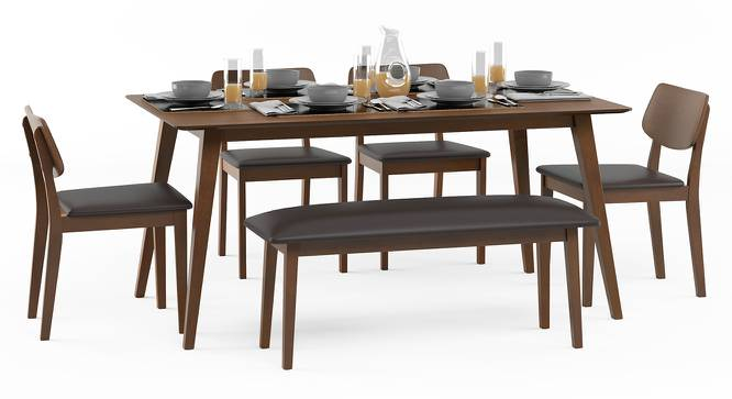 Lawson 6 Seater Dining Table Set (With Bench) (Walnut Finish, Dark Brown) by Urban Ladder