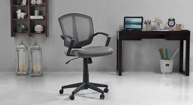 Adams Study Chair - 1 Axis Adjustable (Grey, Plastic  Base) by Urban Ladder
