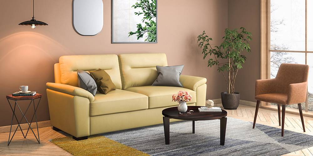 Adelaide Compact Leatherette Sofa (Cream) (Cream, 1-seater Custom Set - Sofas, None Standard Set - Sofas, Leatherette Sofa Material, Compact Sofa Size, Soft Cushion Type, Regular Sofa Type) by Urban Ladder