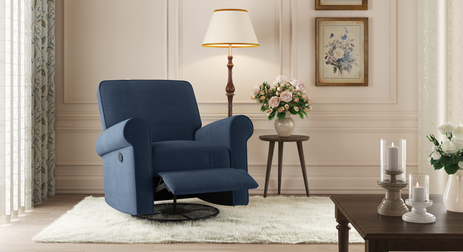 Diaz Swivel Rocking Recliner (Navy Blue) by Urban Ladder